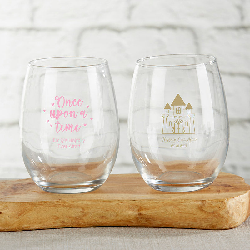 Personalized 15 oz. Stemless Wine Glass - Princess Party