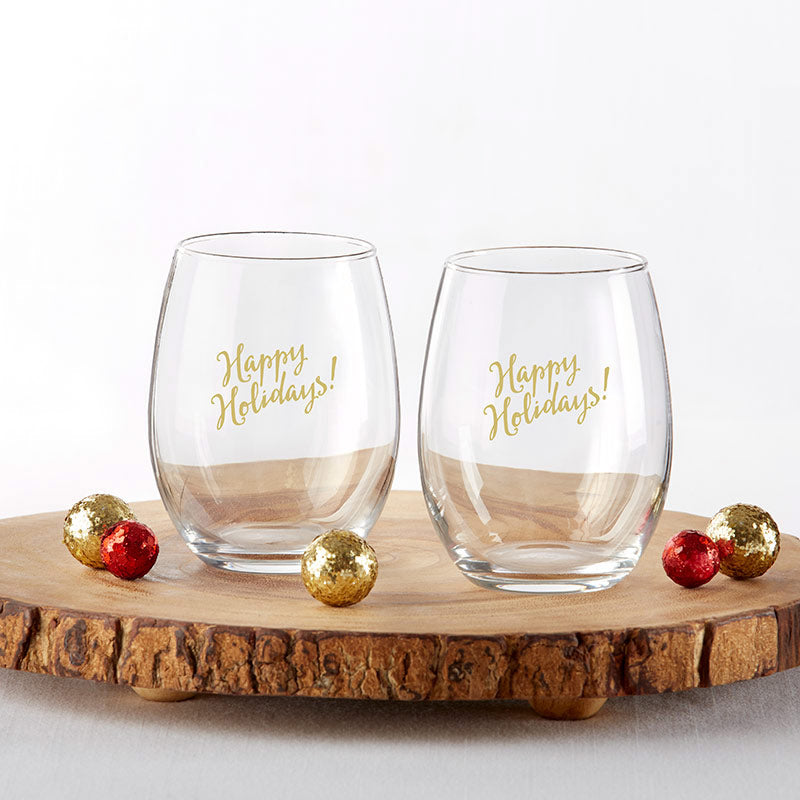 Happy Holidays 15 oz. Stemless Wine Glass (Set of 4)