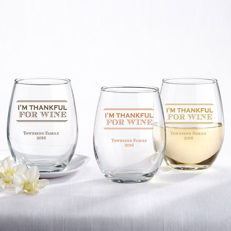 Personalized 15 oz. Wine Glass - Thankful for Wine