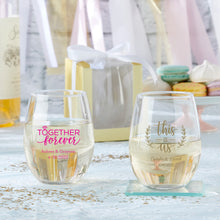 Load image into Gallery viewer, Personalized 15 oz. Stemless Wine Glass - Wedding