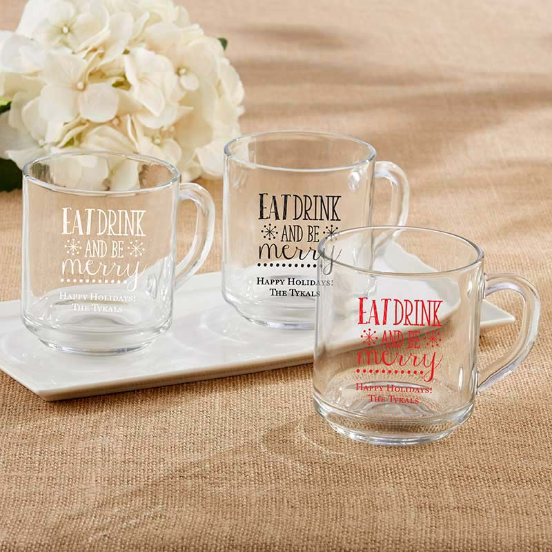 Personalized 10 oz. Glass Coffee Mug - Eat, Drink, and Be Merry