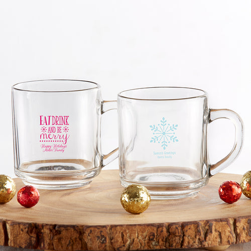 Personalized 10 oz. Glass Coffee Mug - Holiday