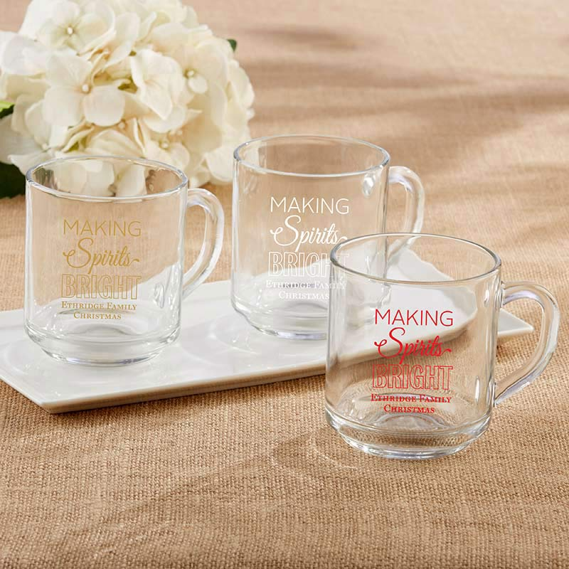 Personalized 10 oz. Glass Coffee Mug - Making Spirits Bright