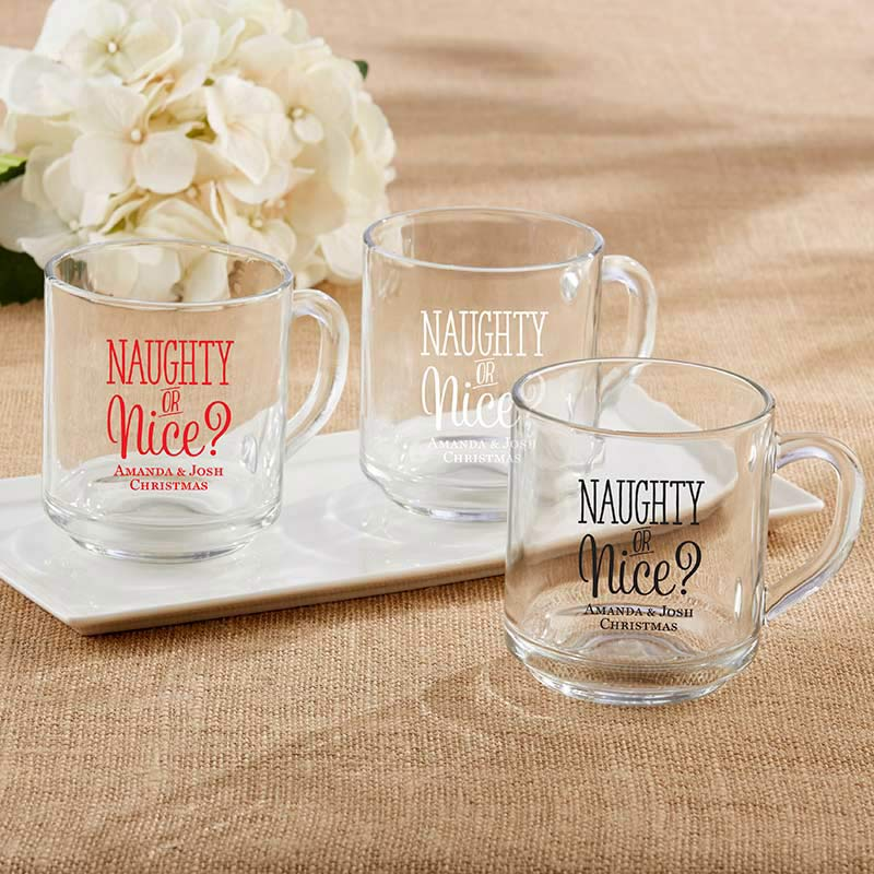 Personalized 10 oz. Glass Coffee Mug - Naughty or Nice