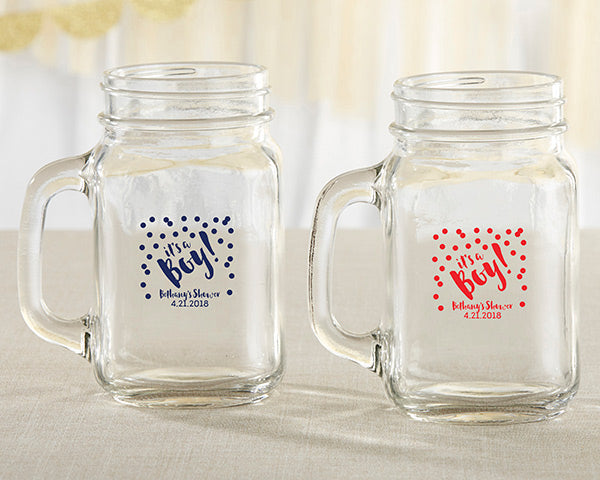 Personalized 16 oz. Mason Jar Mug - It's a Boy!
