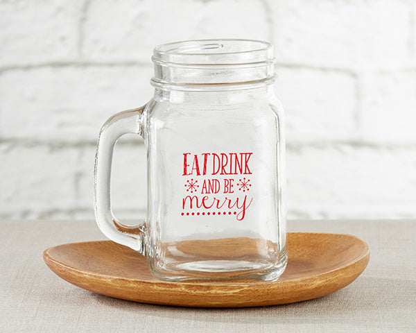 Eat, Drink & Be Merry 16 oz. Mason Jar Mug (Set of 4)