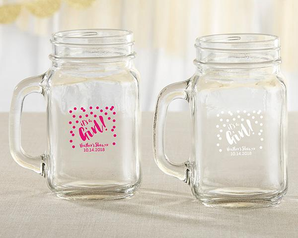 Personalized 16 oz. Mason Jar Mug - It's a Girl!