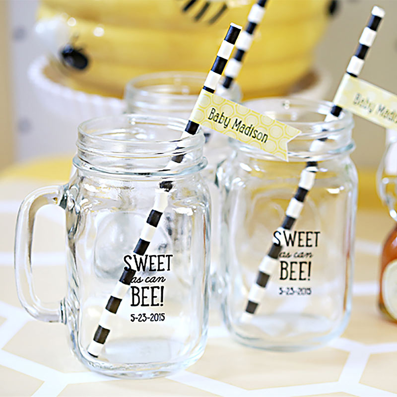 Personalized 16 oz. Mason Jar Mug - Sweet as Can Bee
