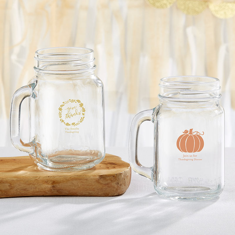 Personalized 16 oz. Mason Jar Mug - Thanksgiving