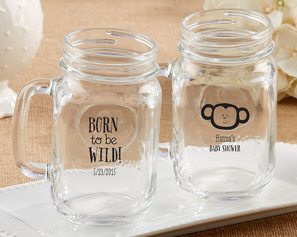 Personalized 16 oz. Mason Jar Mug - Kate's Born To Be Wild Baby Shower Collection