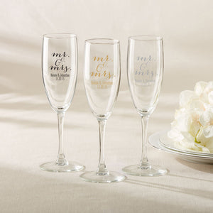Personalized Champagne Flute - Mr. & Mrs.