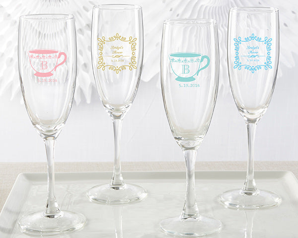 Personalized Champagne Flute - Tea Time
