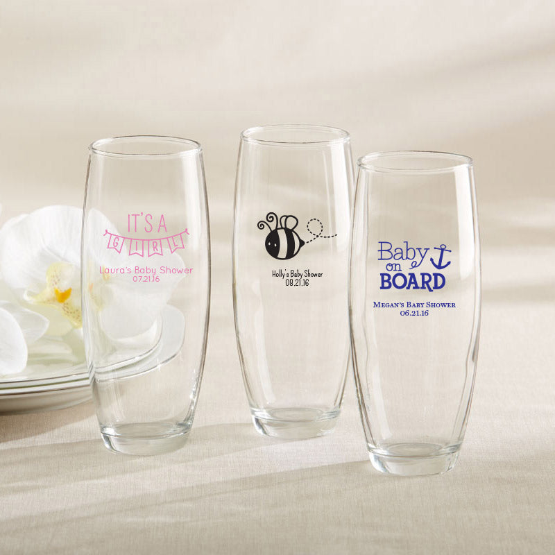 Personalized 9 oz. Stemless Champagne Glass - Baby Shower