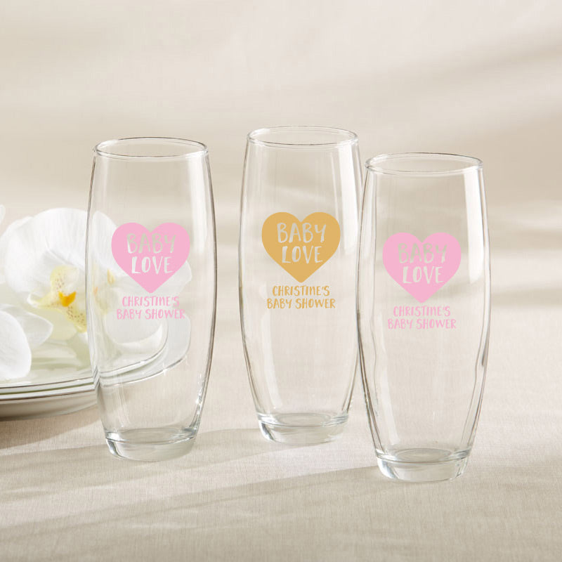 Personalized 9 oz. Stemless Champagne Glass - Baby Love