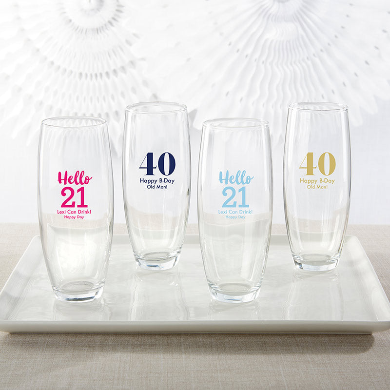 Personalized 9 oz. Stemless Champagne Glass - Milestone Birthday