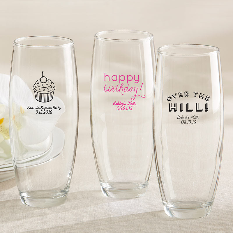 Personalized 9 oz. Stemless Champagne Glass - Birthday