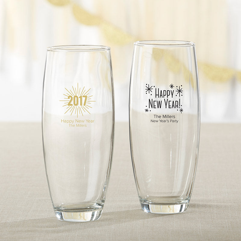 Personalized 9 oz. Stemless Champagne Glass - New Years