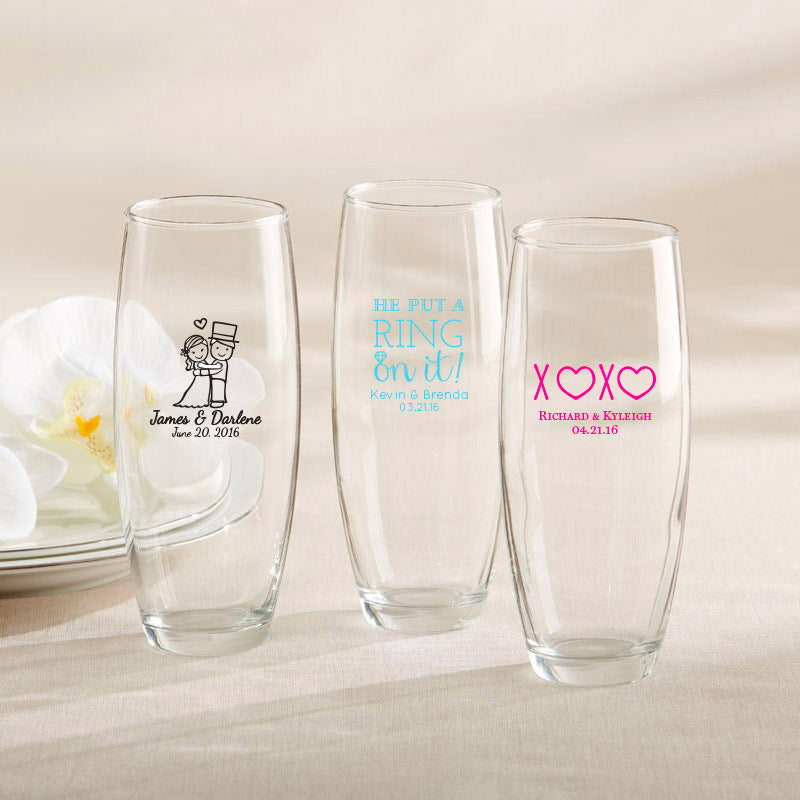 Personalized 9 oz. Stemless Champagne Glass - Wedding