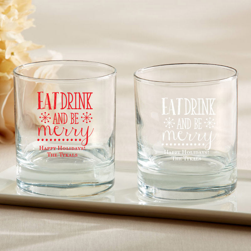 Personalized 9 oz. Rocks Glass - Eat, Drink, Be Merry