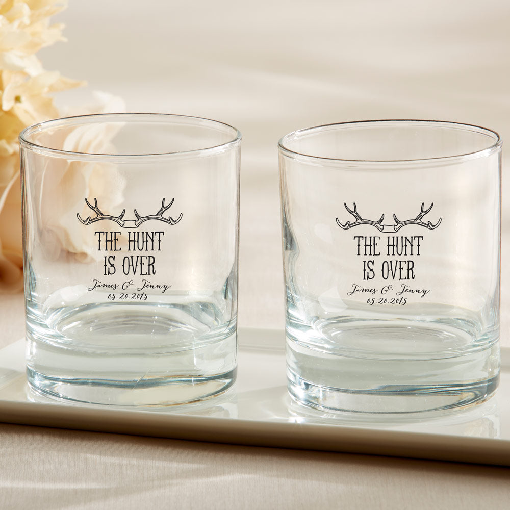 Personalized 9 oz. Rocks Glass - The Hunt Is Over