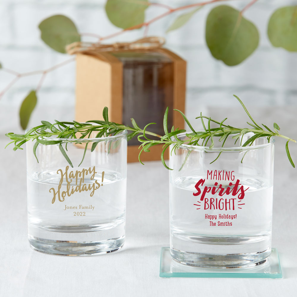 Personalized 9 oz. Rocks Glass - Holiday