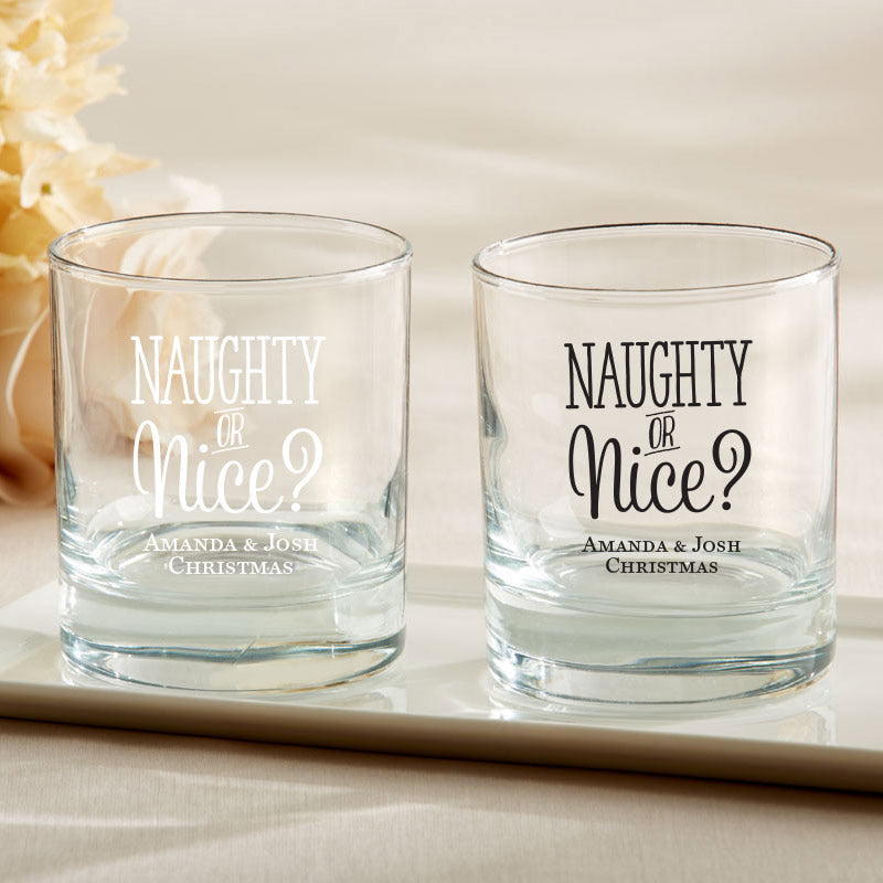 Personalized 9 oz Rocks Glass - Naughty or Nice
