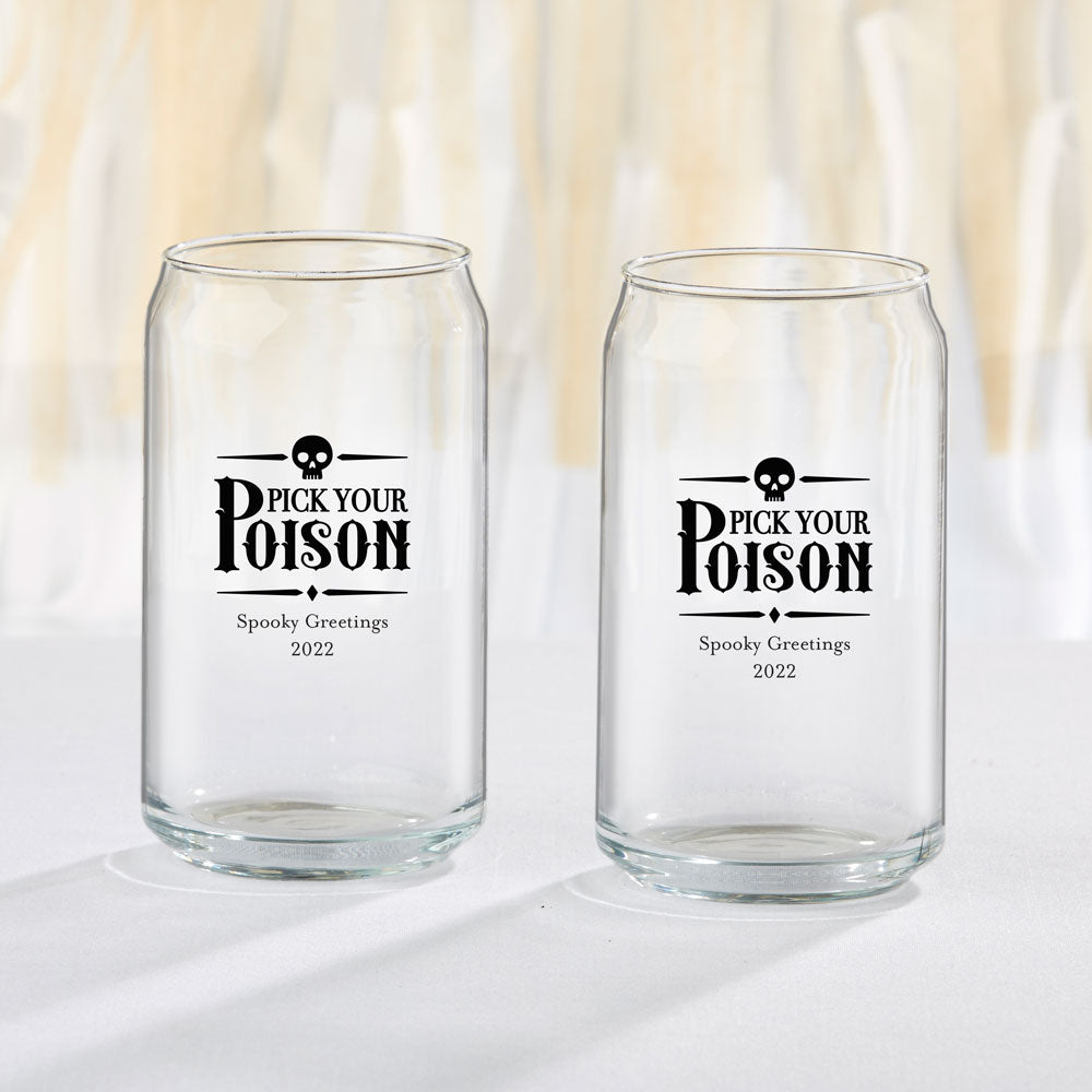 Personalized 16 oz. Can Glass - Holiday