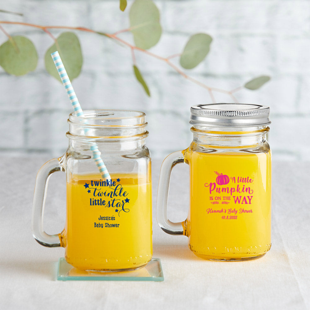 Load image into Gallery viewer, Personalized 12 oz. Mason Jar Mug with Lid - Baby Shower