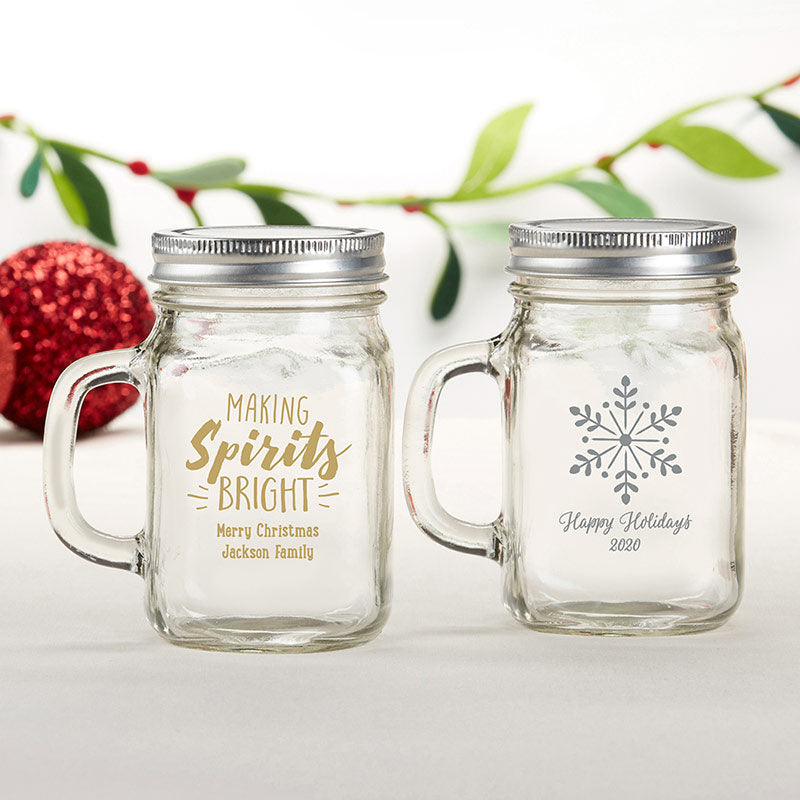 Personalized 12 oz. Mason Jar Mug - Holiday