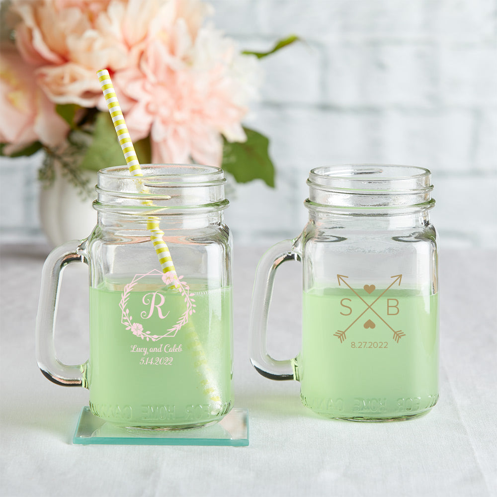 Load image into Gallery viewer, Personalized 12 oz. Mason Jar Mug with Lid - Monogram