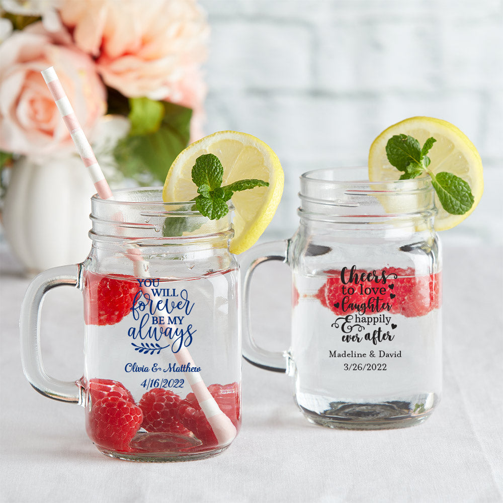 Personalized 12 oz. Mason Jar Mug with Lid - Wedding