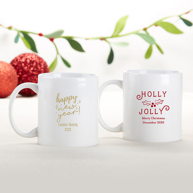 Personalized 11 oz. White Coffee Mug - Holiday