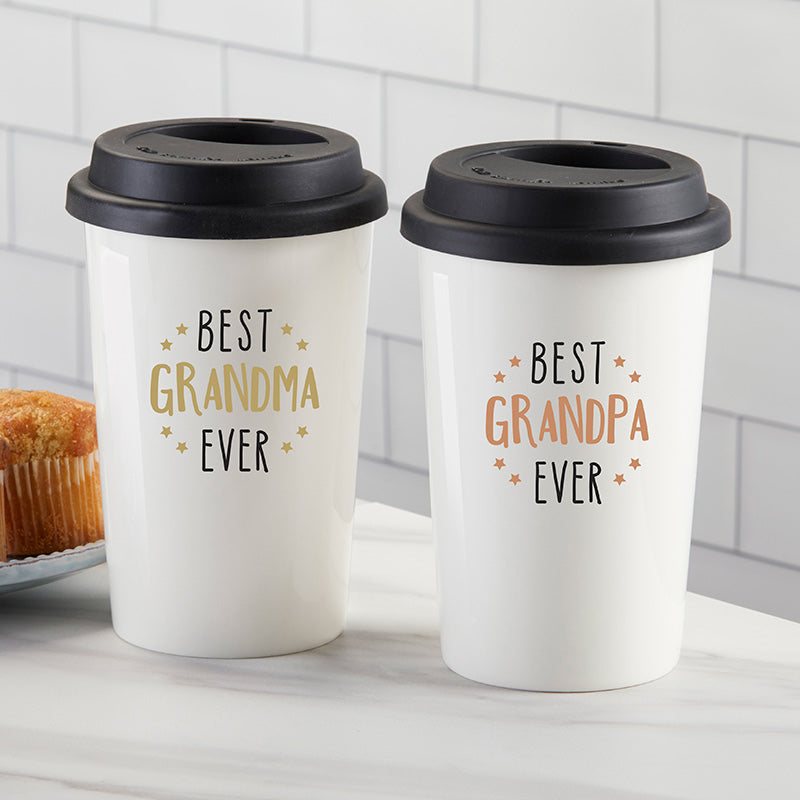 Best Grandpa Ever 15 oz. Ceramic Travel Mug