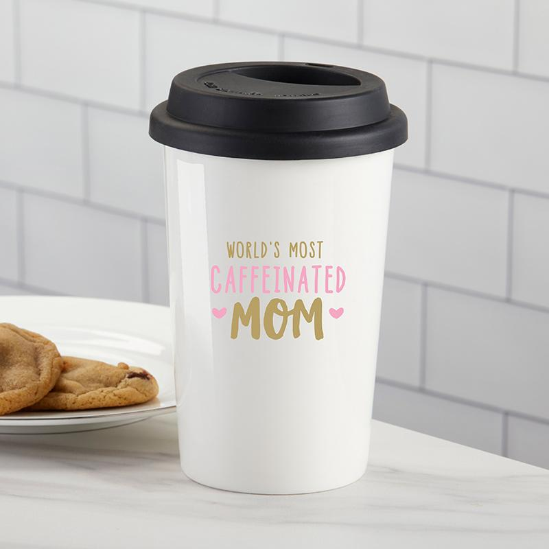 World's Most Caffeinated Mom Ceramic Travel Mug