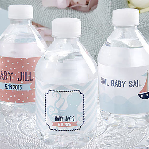 Personalized Water Bottle Labels - Nautical Baby Shower