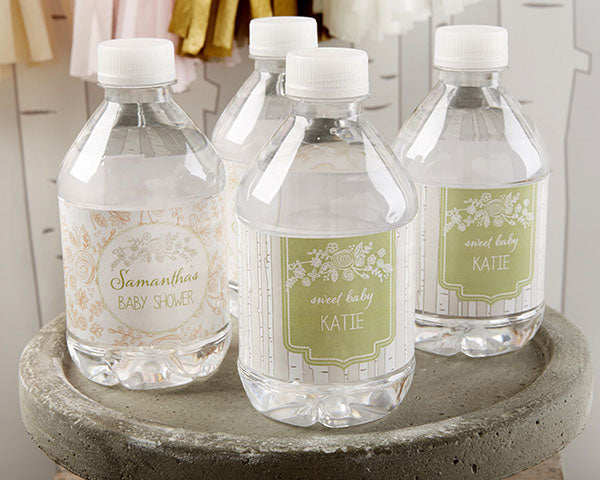 Personalized Water Bottle Labels - Kate's Rustic Baby Shower Collection