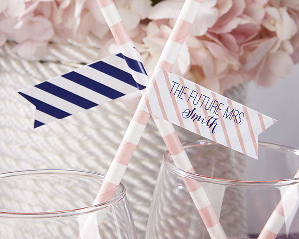 Personalized Party Straw Flags - Kate's Nautical Bridal Collection