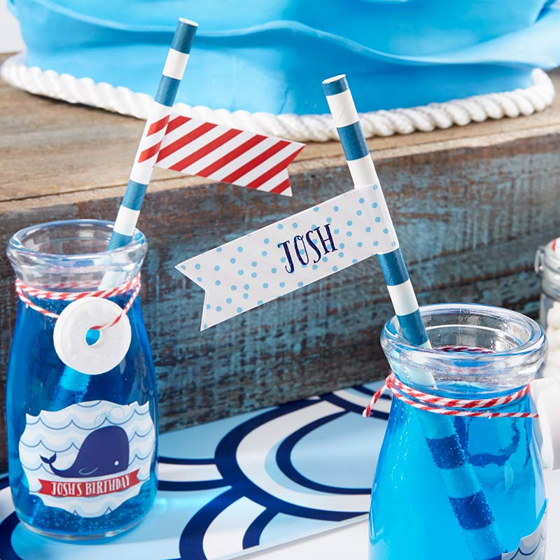 Personalized Party Straw Flags - Kate's Nautical Birthday Collection