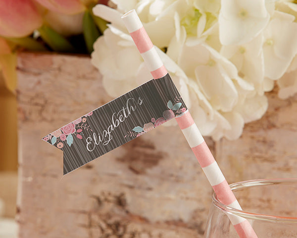 Personalized Party Straw Flags - Kate's Rustic Bridal Collection