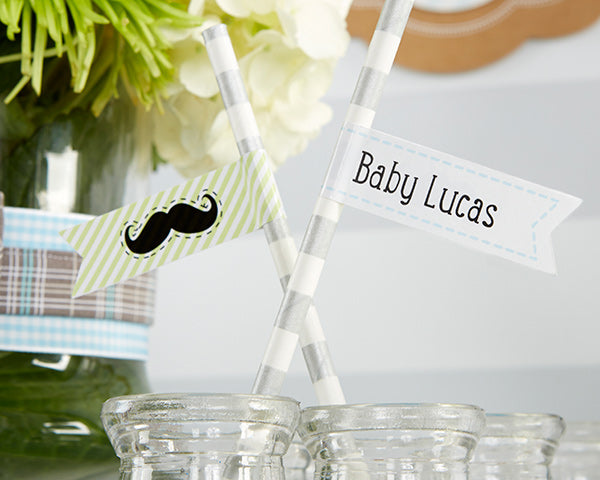 "Personalized Party Straw Flags-Kate's ""Little Man"" Collection"