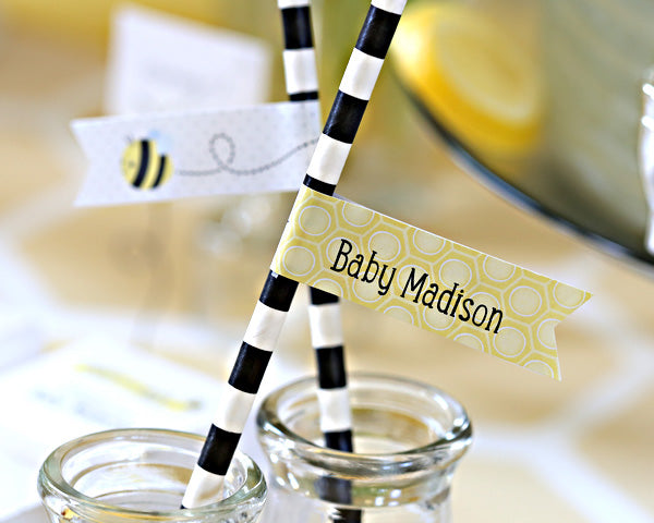 "Kate's ""Sweet as Can Bee"" Personalized Party Straw Flags"