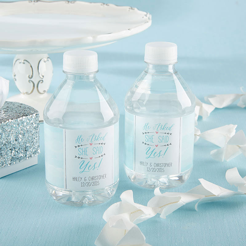 Personalized Water Bottle Labels  - He Asked, She Said Yes