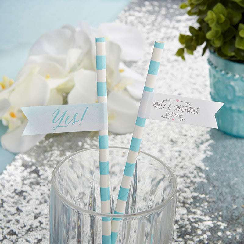 Personalized Party Straw Flags – He Asked, She Said Yes