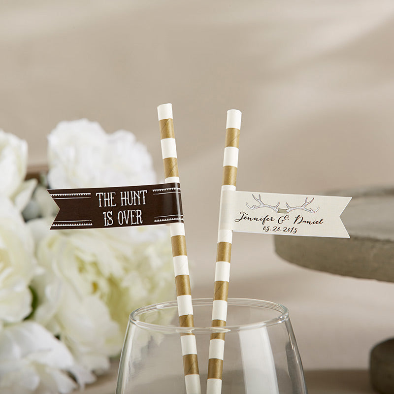 Personalized Party Straw Flags – The Hunt Is Over