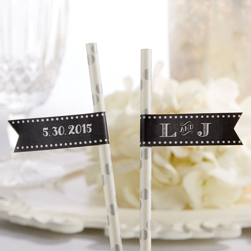 Personalized Party Straw Flags - Chalk
