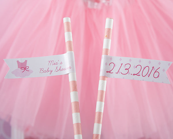 Personalized Party Straw Flags - Tutu Cute