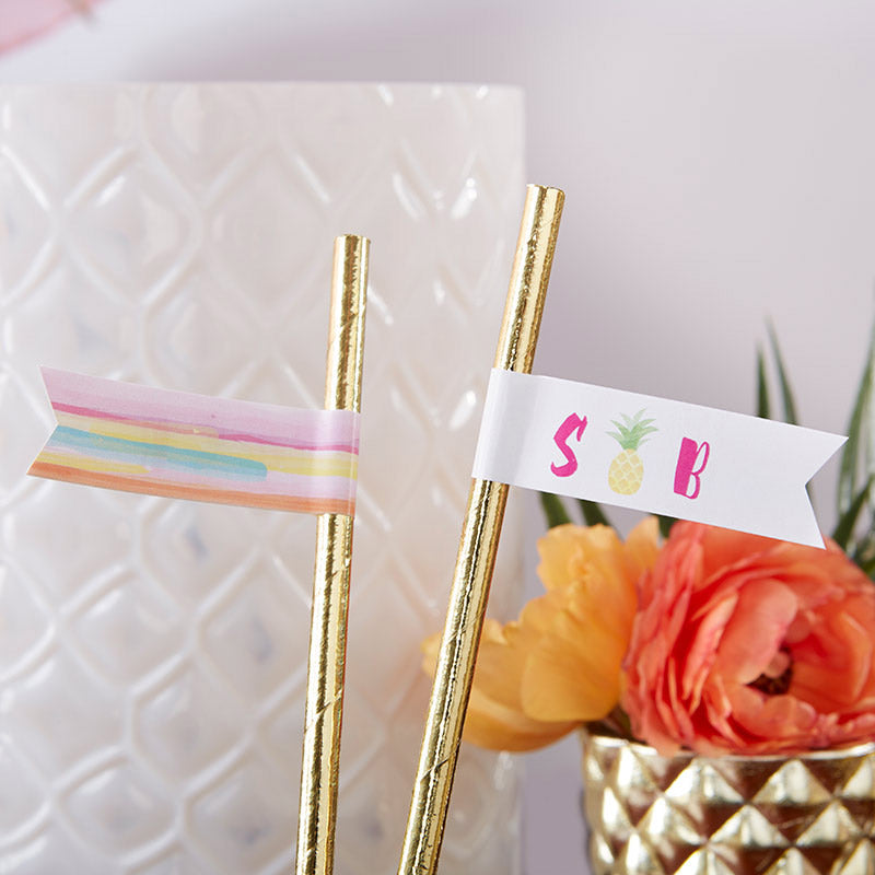 Personalized Party Straw Flags - Pineapples & Palms
