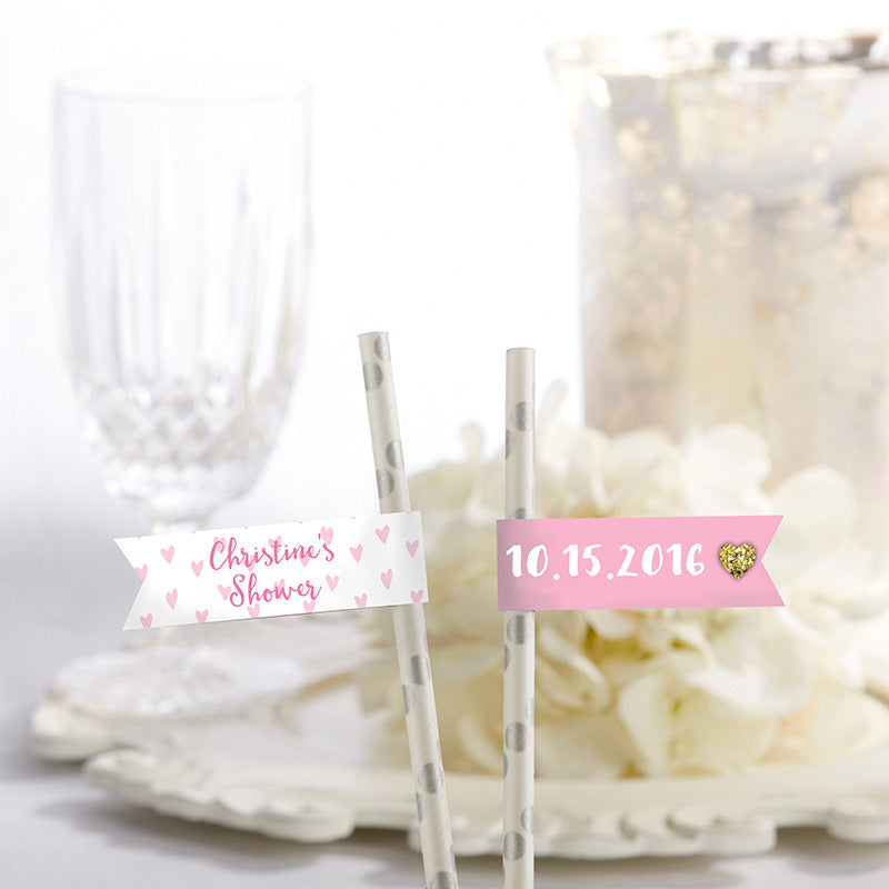 Personalized Party Straw Flags - Sweet Heart