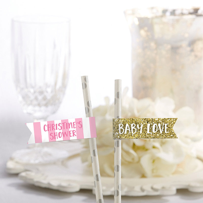 Personalized Party Straw Flags - Baby Love