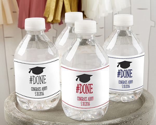 Load image into Gallery viewer, Personalized Water Bottle Labels - #Done Graduation